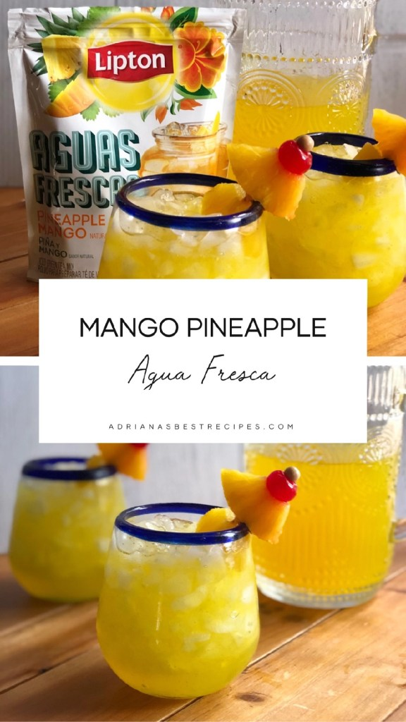 Pairing the chicken and rice meal with pineapple mango mocktails using Lipton aguas frescas.
