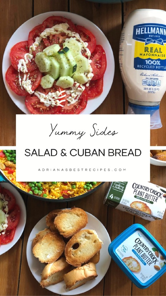 The menu also includes salad and a buttery Cuban bread.
