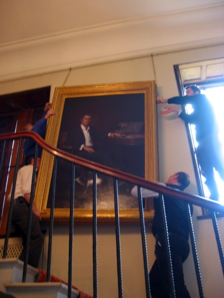 hanging the painting