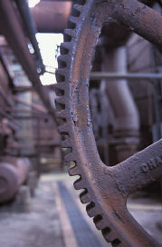Picture of rusty metal machinery gear