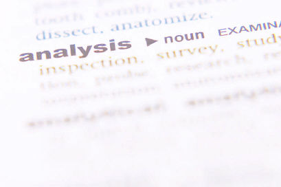 Dictionary definition of analysis on white page