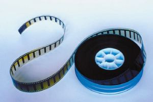 Movie film on a spool