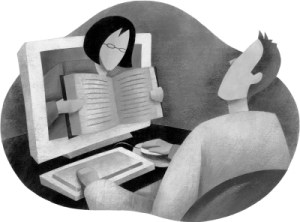 Black and white artwork showing a person leaning out of monitor providing help to the user