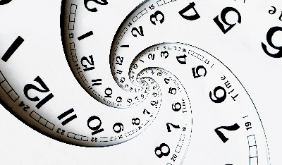 "Swirling picture of clocks, a visual representation of ""the complexity of now"""