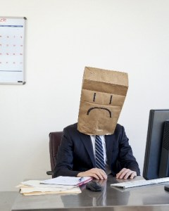 unhappy bag paper man