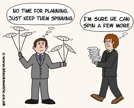 Cartoon of business analyst spinning plates, with a manager coming with more plates (metaphor)