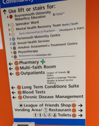 Picture of a sign inside a hospital, clearly pointing out departments with colour coding.  Pharmacy Multi-faith room Outpatients Long term conditions suite Blood tests Chronic disease management
