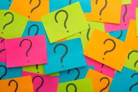 Sticky notes with question marks written on them