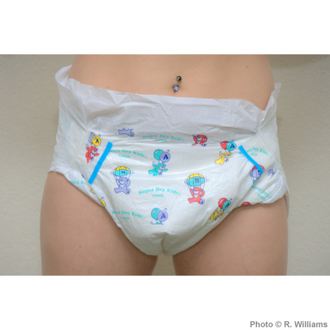 """An ABU Super Dry Kids diaper, described by the company as an """"unbelievable recreation of the Pampers® Baby Dry 1990's teddy bear print."""""""