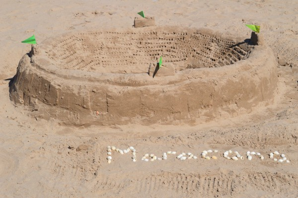 Maracana sandcastle on the West Sands.