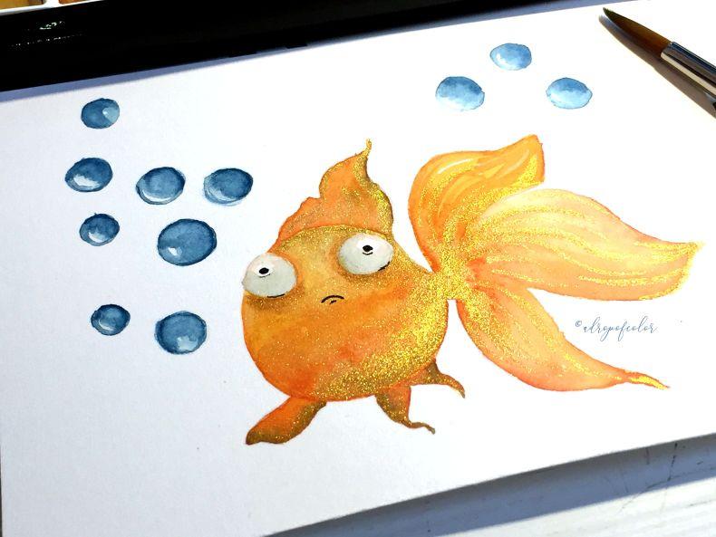 Pesce rosso con acquerello - Acquerelli oro Kuretake Starry Colors