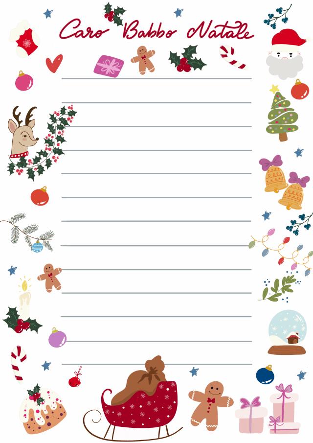 Letterina Babbo Natale sfondo Bianco template gratuito