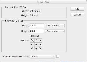 Photoshop cc canvas size