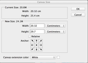 Photoshop cc canvas size