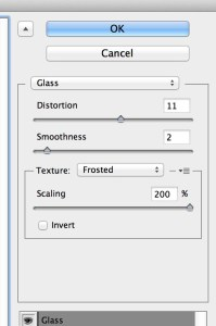 Glass filter settings
