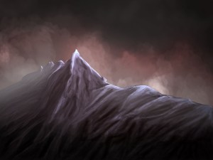 Photoshop painting of mountain