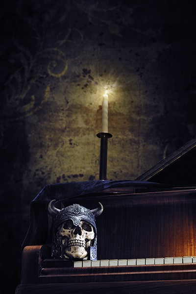 piano, skull, candlelight, retouched