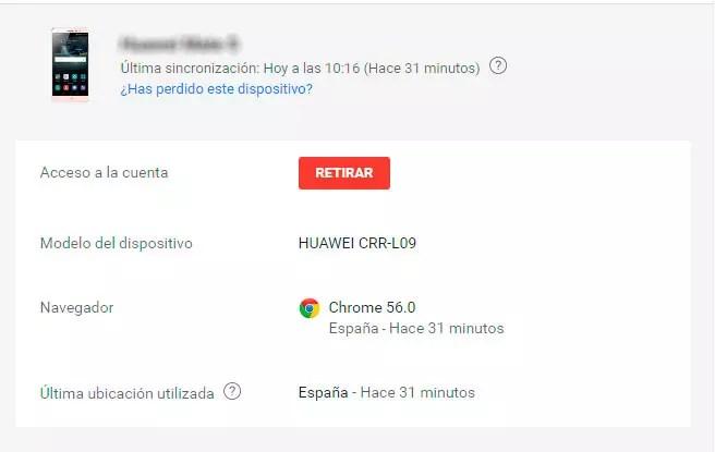 retirar acceso cuenta de Google