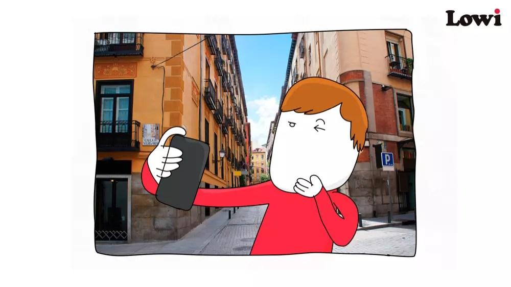 caricatura hombre calle movil