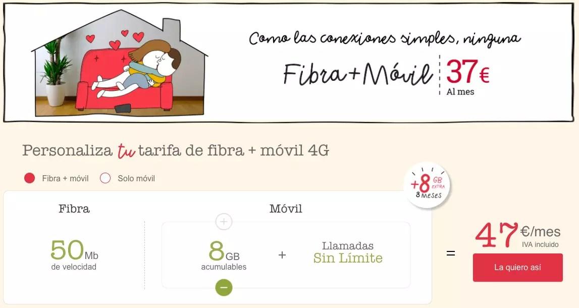 lowi precios fibra + movil