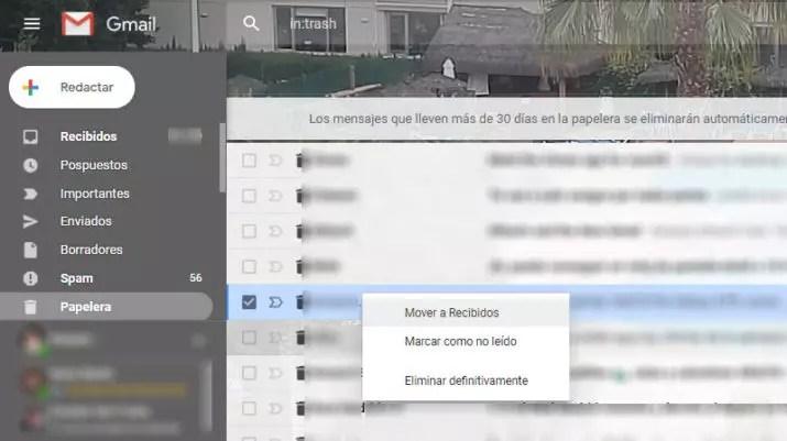 recuperar correos eliminados en Gmail