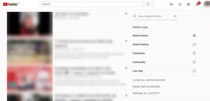 historial de vídeos vistos en YouTube