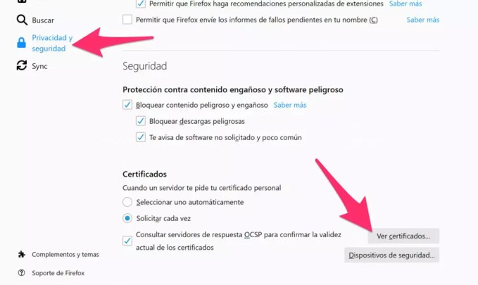 Security and privacy in Firefox for installation of digital certificates