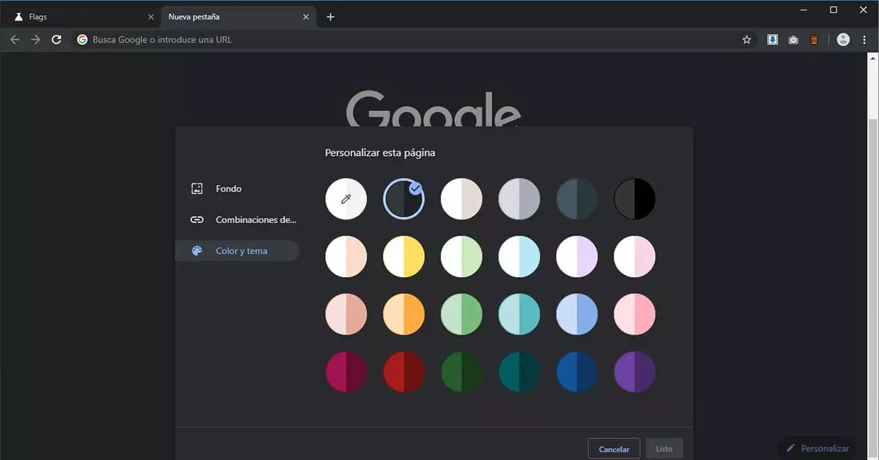 google chrome personalizar color tema