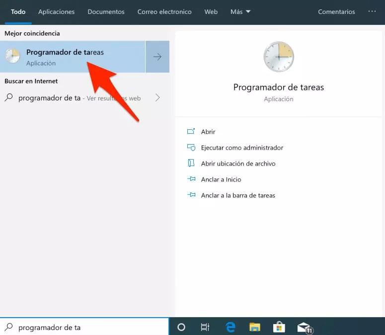 Programador de tareas de Windows 10