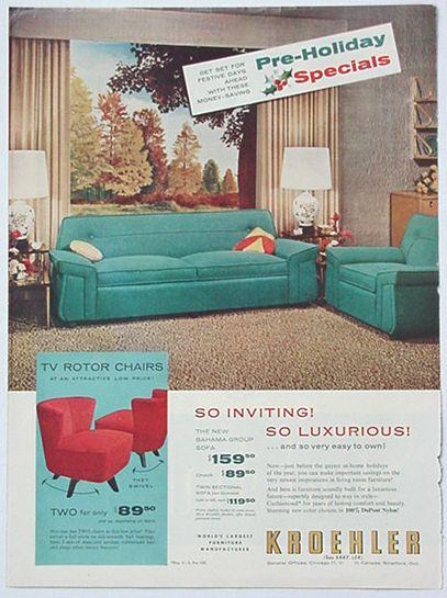AdsPastcom  1950s Kroehler Sofa  TV Rotor Chairs Ad