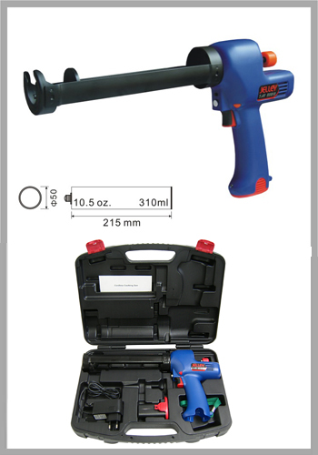 Battery operated cordless caulking gun machine set