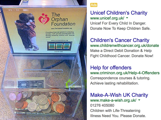 image showing a charity box with coins in it