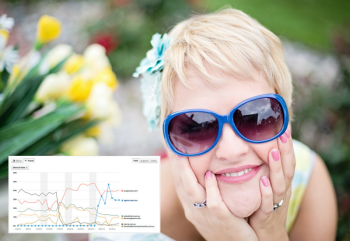 smiling woman wearing big blue sunglasses