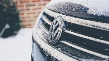 bonnet of volkswagon car with frost on it