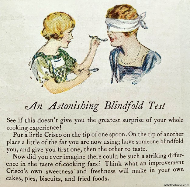 Section from a larger print ad for Crisco, circa 1927