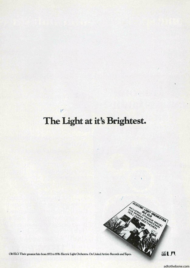 Electric Light Orchestra ad found in a 1976 issue of Crawdaddy magazine.