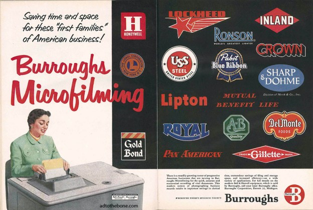 Magazine ad for Burroughs Microfilming