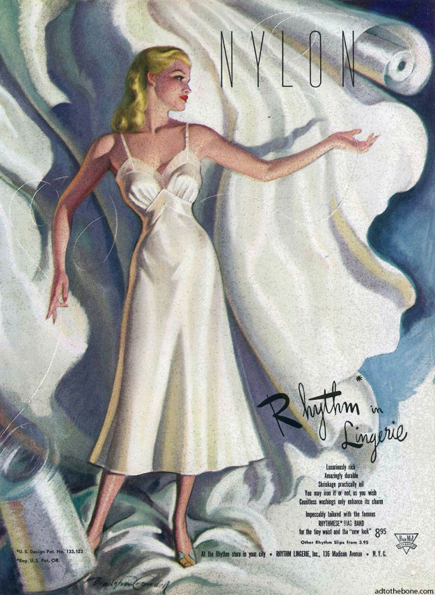 1948 magazine ad for Rhythm Lingerie