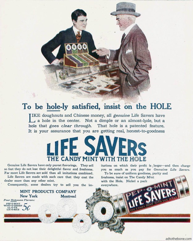 1919 Life Savers magazine ad found as the inside front cover of a Life magazine.