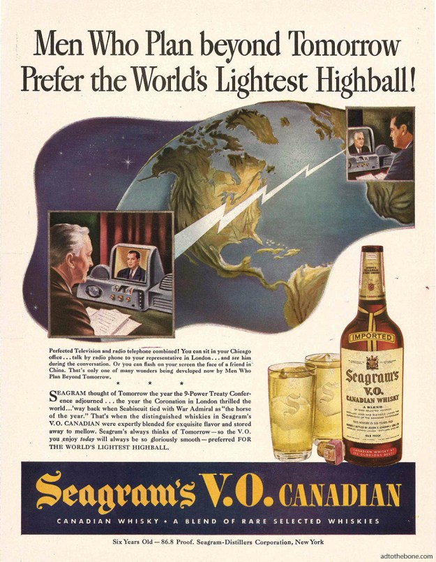 1944 magazine ad for Seagram's V.O. Canadian Whisky