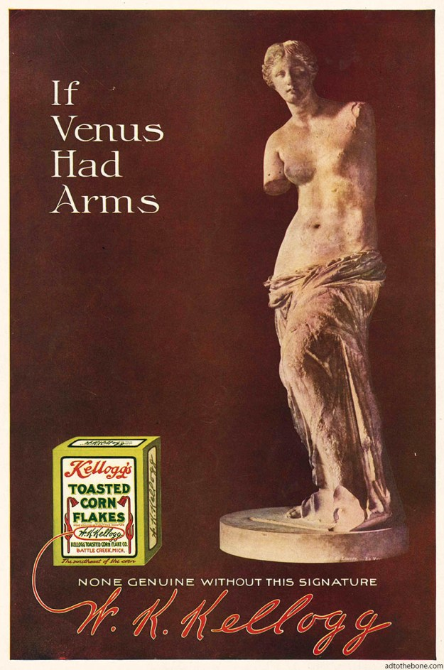 If Venus Had Arms — 1911 magazine ad for Kellogg's Toasted Corn Flakes