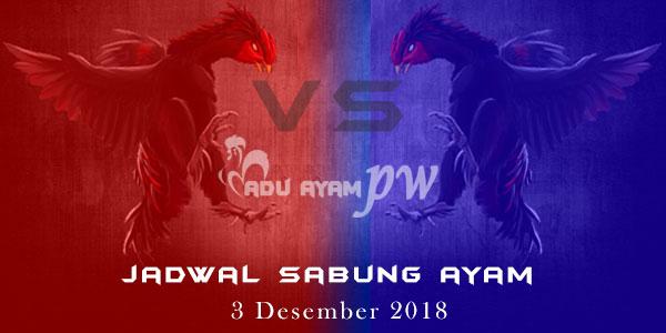 Jadwal Sabung Ayam 3 Desember 2018