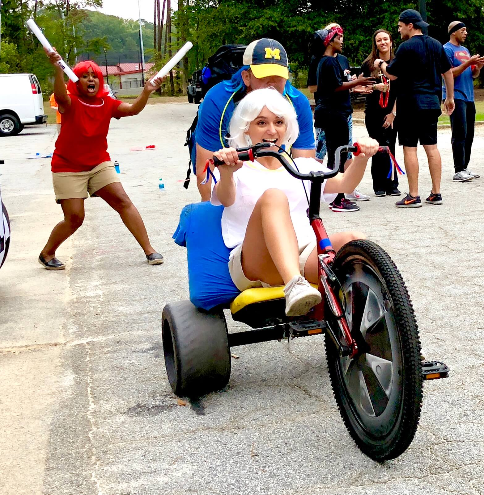 Excitement and team spirt is easy to see at this Adult Big Wheel Club team building event in Atlanta