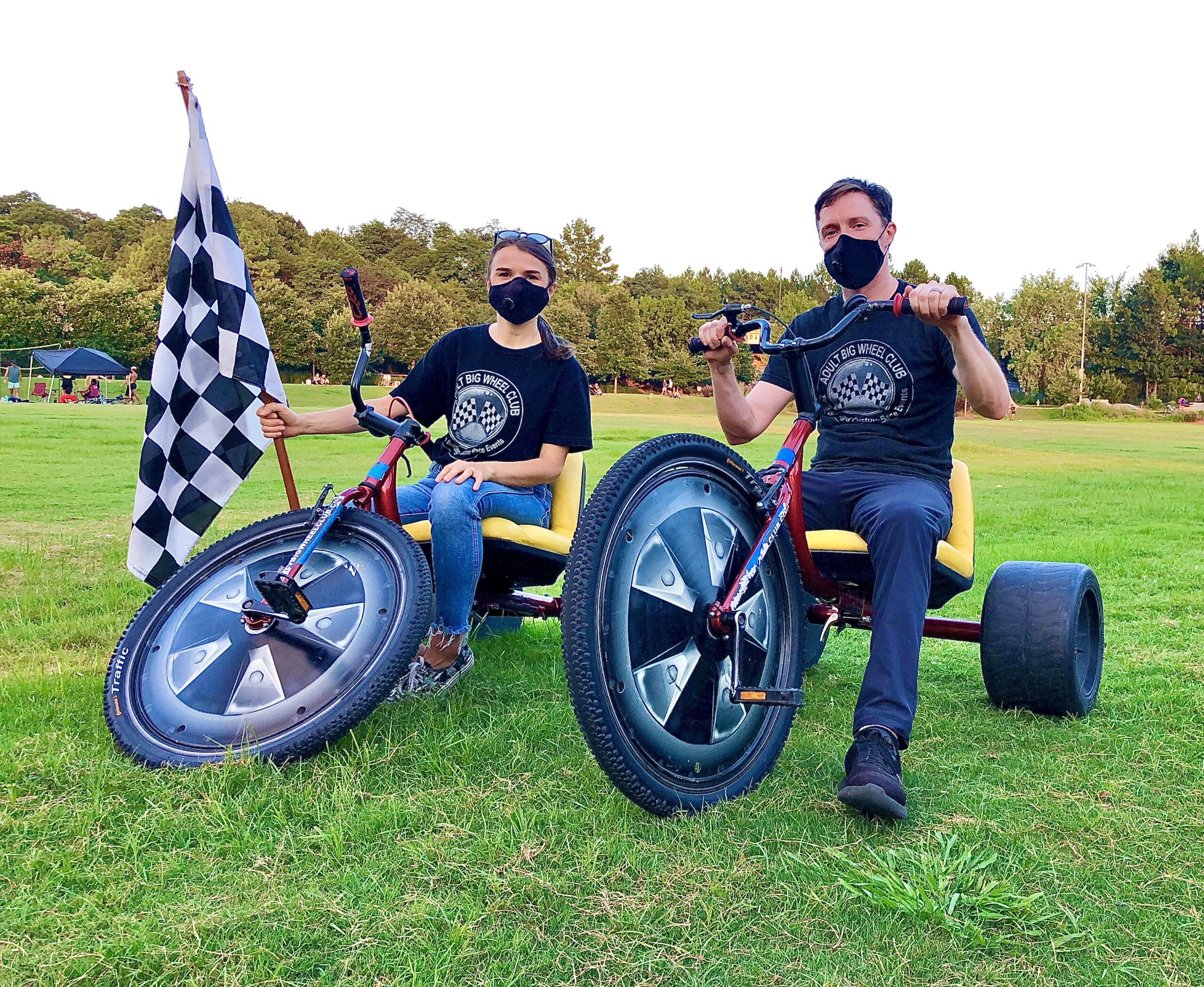 Owners of Adult Big Wheel Club Team Building and Custom Race Events, Danny and Marta