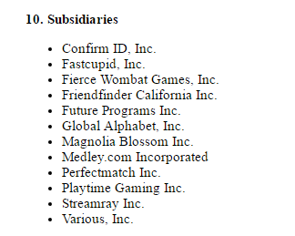 FriendFinder.com subsidiaries
