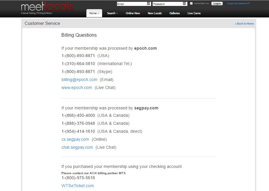 MeetLocals.com customer support