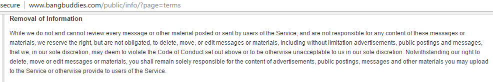 Bangbuddies.com - removal of information