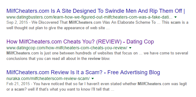 Milfcheaters.com poor online reviews