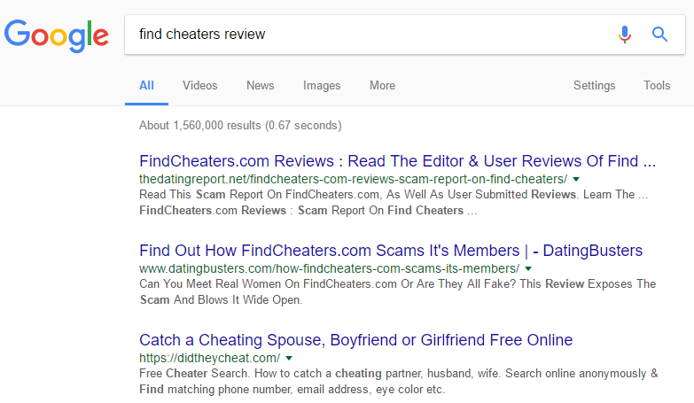 Find Cheaters review