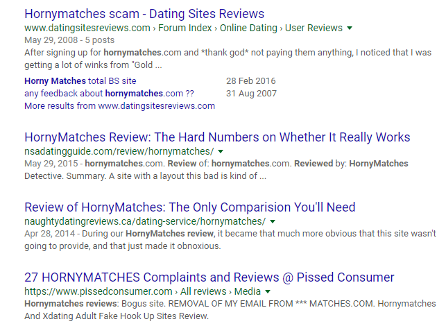 Horny Matches reviews